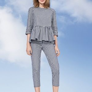 Victoria Beckham For Target checked peplum top XS